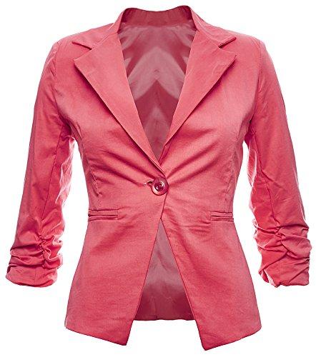 Blazer elegante da donna in cotone, giacca business, tempo libero, festa, In 26colori, 40424446 Salmone