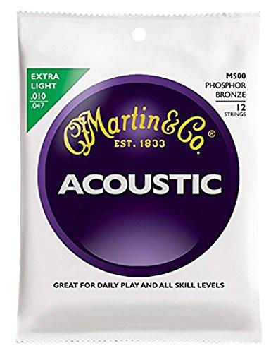 n für Akustikgitarren (92/8 Phosphor-Bronze, Stärke Extra Light 0.010 - 0.047) 12 Saiten (Martin 12 String Akustik Gitarre)