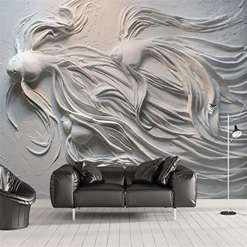 3D geprägte Guppy TV Sofa Hintergrund Wandmalerei benutzerdefinierte große Wandbild grün Tapete Bild für FotoFototapete 3d effekt ()