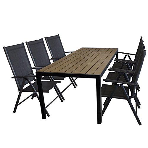 7tlg. Gartengarnitur Aluminium Gartentisch, Tischplatte Polywood Braun, 205x90cm + 6x Aluminium Hochlehner, 2x2 Textilenbespannung, Rückenlehne in 7 Positionen verstellbar, schwarz - Gartenmöbel Set Sitzgarnitur Sitzgruppe