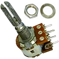B10K ohm con interruptor SPST 10K ohm B103 mono lineal moleteado de lin eje Splined Rotary Potentiometer Pot 5 terminal eje: 25 mm