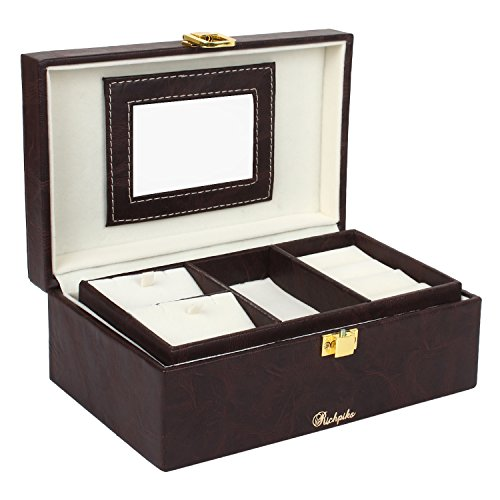 Richpiks S Multi Strand Jewellery Accessories Box Dark Brown/Coffee Colour