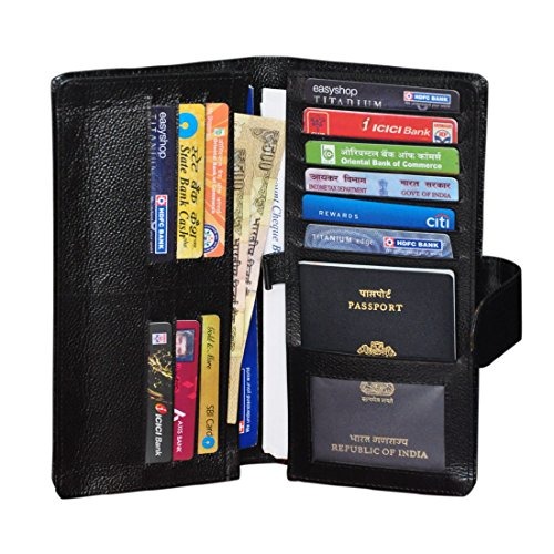 GLEAM 100% Genuine Leather Travel Passport Case / Debit & Credit Card Holder /Cheque Book Holder / Document Wallet /Money Wallet Purse-BLACK