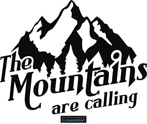 CLICKANDPRINT Aufkleber » The Mountains Are Calling, 30x23,2cm, Schwarz • Dekoaufkleber/Autoaufkleber/Sticker/Decal/Vinyl