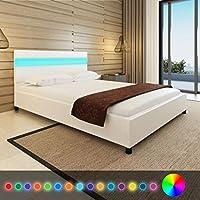 Fesjoy 200 * 140 cm Cama Incomparable LED Luz Blanca Cabecera de imitación de Cuero Marco