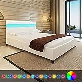 Tidyard- Letto con LED in Pelle Artificiale Bianca 140 x 200 cm
