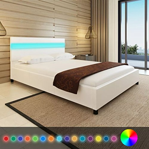 Xingshuoonline letto a led in similpelle, bianco, telaio per letto matrimoniale, 140 x 200 cm