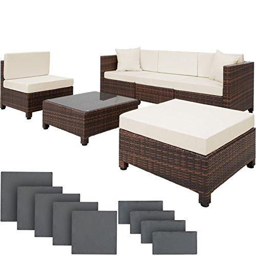 Galleria fotografica TecTake Set di mobili da giardino in rattan sintetico e alluminio nero/marrone