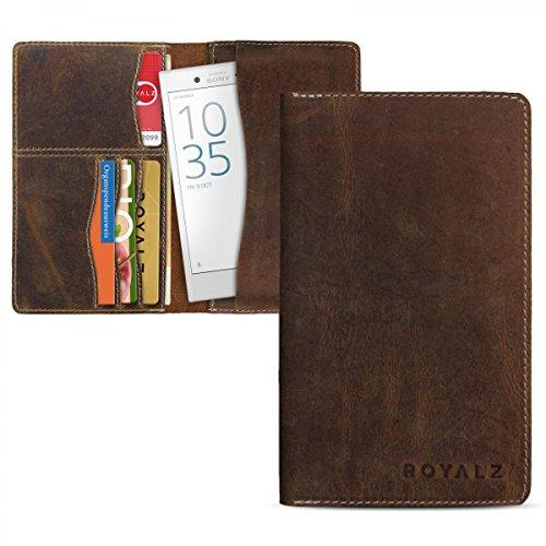 ROYALZ Ledertasche für Sony Xperia X Compact Geldbörse (4,6 Zoll) Schutztasche Etui Brieftasche Portemonnaie Case Antik Braun