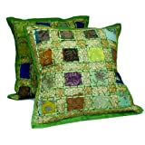 2 Green Embroidery Sequin Patchwork Indian Sari Throw Pillow Cushion Covers