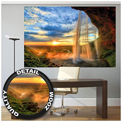GREAT ART XXL Poster - Wasserfall - Wandbild Dekoration Sonnenuntergang vor Horizont Natur Entspannung Landschaft Romantik Felsen Fluss Relax Wandposter Fotoposter Wanddeko Motiv (140 x 100 cm)