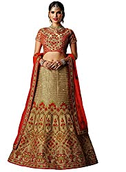 DesiButiks Wedding Wear Alluring Beige Silk Lehenga