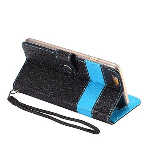 Phone case & Hülle Für IPhone 6 Plus / 6S Plus, Farbe Matching Style Litchi Textur Horizontale Flip Echtes Leder Tasche mit Halter & Card Slots & Brieftasche & Lanyard ( Color : Blue ) Blue