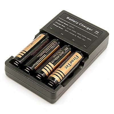 SOOJET ICH-04 Intelligent 4 fach multi Ladegerät Battery Charger für 4x 18650, 2x 18550 3.7V Akku und 14500, 15500, 16340, Universale Akku Ladestation Mit Verpolungsschutz Und Akkudefekterkennung