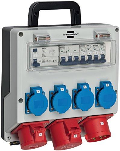 Brennenstuhl Wandverteiler IP44 (Stromverteiler zur Wandbefestigung 32A, mit FI-Personenschutzschalter 30mA)