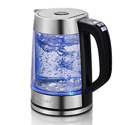 Bouilloire électrique en verre à double paroi avec contrôle de température variable précis et fonction de maintien au chaud, sans fil 1,7 L sans fil Boiler-Dry Protection pour café et thé
