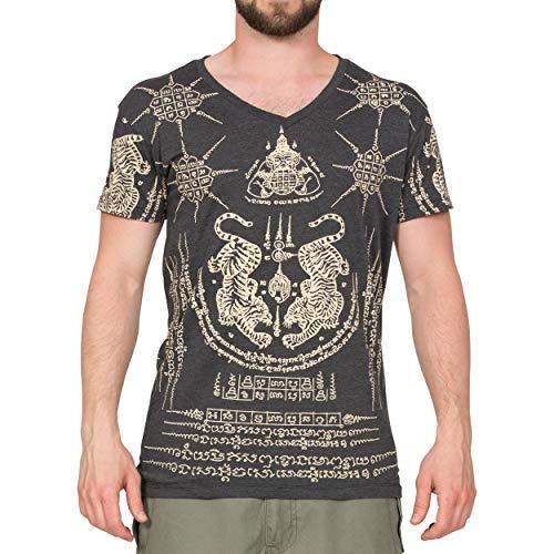 Thai Temper Tattoo Baumwolle Slim Fit Herren Shirt schwarz M (Nicht-religiösen Shirt)
