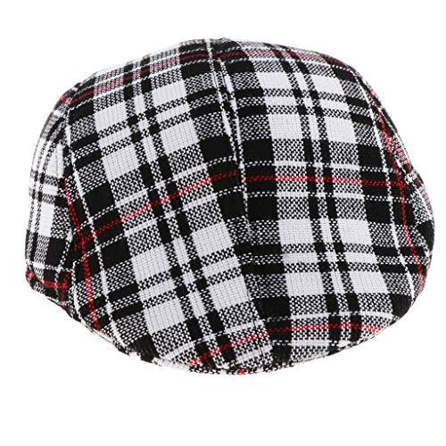 Baumwolle Flache Kappe Schirmmütze Flatcap Schiebermütze Gatsby Hüte Mützen - Schwarzer Check ()