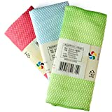 ltct Corea ambos cara rejilla absorbente paño pelusa no dejar manchas de agua, sin marca de agua cristal toallitas de limpieza 3unidades Pack en color al azar