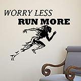 Turnhalle Wandaufkleber Sport Laufen Frauen Wandtattoo Motivation Sorge Weniger Lauf Mehr Tapete Fitness Wand Poster 103X80Cm