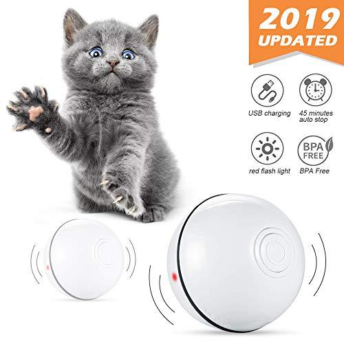 Las características de nuestra pelota de juguete para gatos interactiva inteligente:      1.Diseño rodante de 1.360 grados, cambia de dirección al golpear cualquier obstáculo.   2. Luz roja intermitente, fácil capta la atención del gatito.   ...