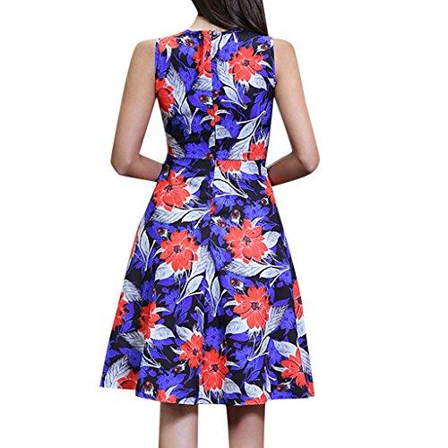 MNBS Femme Robes Vintage Classique 1950S Style Ourlet Imprimer Fleur Cou Orange