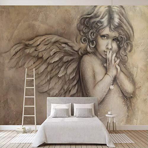 (Benutzerdefinierte 3D Seidentuch Wandtapeten Tapete Malerei Europäischen Stil 3D Seidentuch Geprägte Engel Wandbild Wohnzimmer TV Hintergrund Wand Dekor Tapeten Benutzerdefinierte Größe (21.43€/㎡))