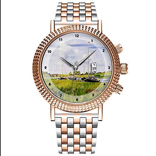 Mode Wasserdichte Herren-Armbanduhr Analog Quarz Edelstahl Mit Gold 295.Bei der Bootsfahrt-William Merritt Chase Wrist Uhren