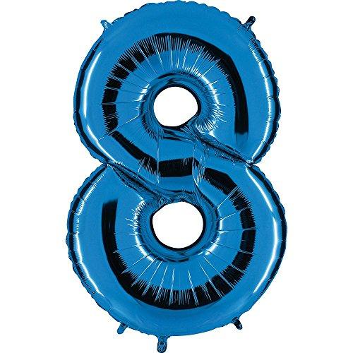 Ballon Zahl 8 in Blau - XXL Riesenzahl 100cm - für Geburtstag Jubiläum & Co - Acht - Party Geschenk Dekoration Folienballon Luftballon Happy Birthday (Ballon Folie 8)