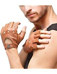 les gants de daim sans doigts hommes demi nappaglo conduite moto cyclisme riding non doigt de gants en cuir