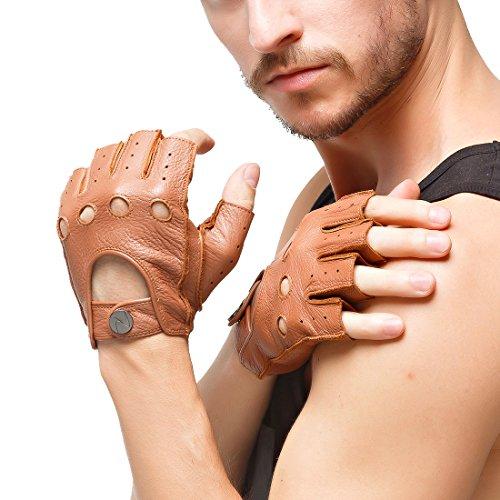 Nappaglo Herren Hirschleder Fingerlose Handschuhe Halbfinger Lederhandschuhe für fahren Motorrad Radfahren Ungefüttert Handschuhe (L (Umfang der Handfläche:21.6-22.8cm), Sand)