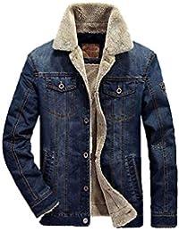 junkai Uomo Giacca di Jeans con Alta Colletto Risvolto Cappotto Manica  Lunga Giacca Tasca Pulsante Giacca di Jeans Ricamo Cappotto Giubbotti… cdf90f544b0