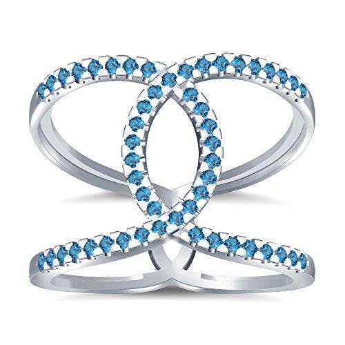 Silvernshine Halo Twist Aquamarine CZ Diamond Engagement Ring 14k White Gold Plated Bridal Ring