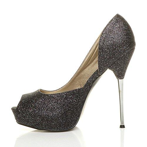 Femmes talon haut aiguille dOrsay bout ouvert chaussures escarpins pointure Noir paillettes