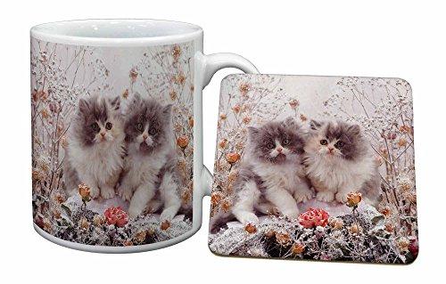 Advanta - Mug Coaster Set Persian Kittens von Roses Becher und Untersetzer Tier Geschen - Persischen Becher