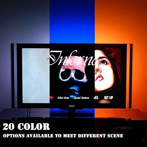 LED TV Hintergrundbeleuchtung für 32 42 43 Zoll TV Bias Beleuchtung - USB Powered LED-Leiste mit Fernbedienung hinter TV-Beleuchtung - 16 Farben, Sync ON/OFF mit TV