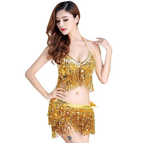 r Damen Bekleidung Club Ds Tanz Kostüm Weiblichen Erwachsenen Jazz Dance Fringe Pailletten Kostüm Bikini, L, Gold (Fringe Jazz Dance Kostüme)