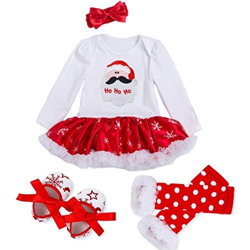 DecStore Baby Mädchen Mein erster Weihnachtskostüm Party Kleid Tutu Kleidung 4PCS Set(Santa Claus L)