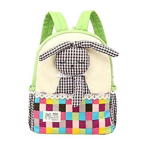 School Bags, SHOBDW Toddler Baby Girls Kids Rabbit Pattern Plaid Animals Backpack School Bag (25 x 12 x 29cm,