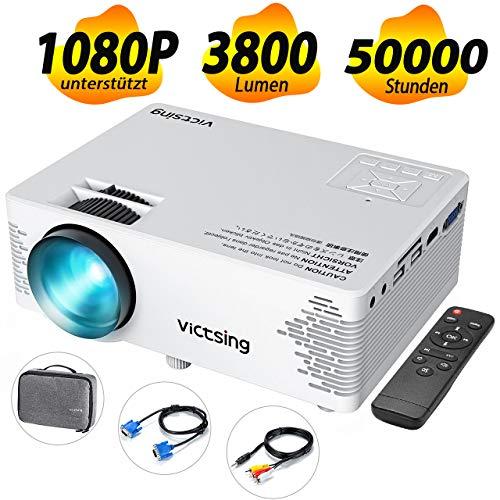 VicTsing Mini Beamer 2019 Upgraded Projektor 3800 Lumen Full HD 1080P tragbarer Heimkinoprojektor mit HiFi-Klangqualität Tasche Beamer kompatibel mit TV-Stick, PC, Laptop, USB / HDMI / VGA / SD / AV 720p Lcd-tv