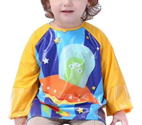 Happy Cherry Baby Langärmel Lätzchen Bib Kinder Wasserdicht Schürze Malschürze Cartoon Bastelkittel Raumfahrzeug Orange - Größe XL