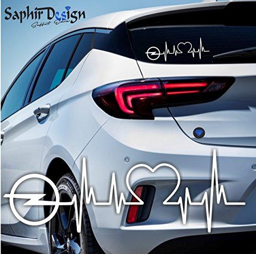 Saphir Design Opel Herzschlag - Autoaufkleber - A177/18 x 6 cm Hochleistungsfolie in der Farbe Weiss A177 Magnet