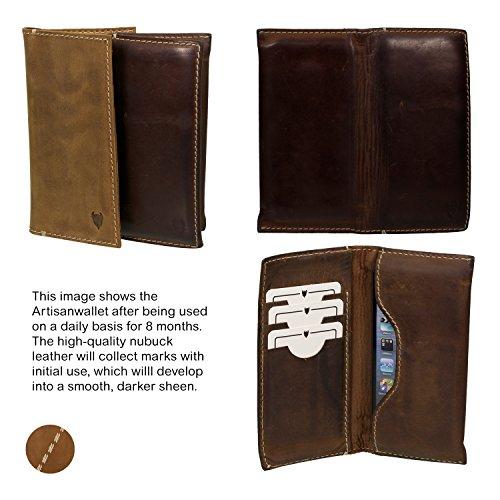 MediaDevil Artisanwallet Größe 1 Smartphone Lederhülle (Rustikales Braun) - Handgefertigte Hülle aus Echtleder in Brieftaschenstil Rustikales Braun