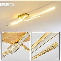 LED lámpara de techo Jamjo con dos tiras de luz alargadas y cristales de plástico - lámpara de techo dorada - lámpara para pasillo - dormitorio - salón