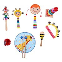 Toygogo Toddler Educational & Musical Percussion for Kids Instruments Set 8 Pcs - with Tambourine, Castanets, Rattles, Rainbow Tower & More