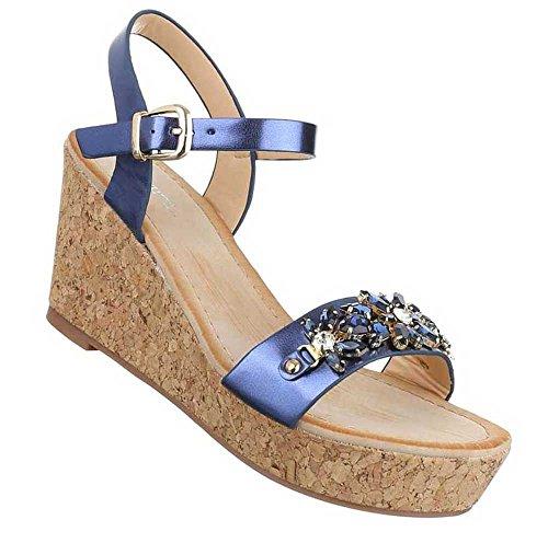 Senhoras Sandálias Sapatos De Cunha Cunhas Planalto Preto Azul