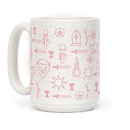 LookHUMAN Kaffeetasse mit Tarotkarten-Muster, 425 ml, Pastellrosa
