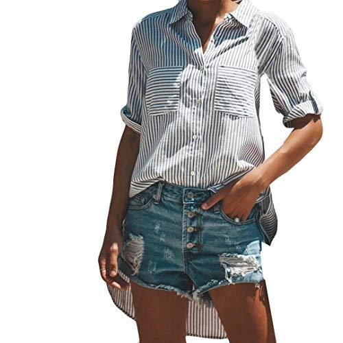 Camica da donna, moda donna autunno e inverno, squisita maglietta a maniche lunghe a righe da donna di uomogo