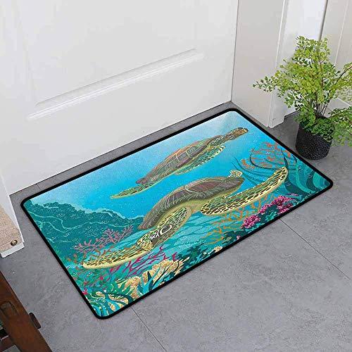 Kinhevao Haustier-Fußmatte, Seetier-Illustration von Zwei Meer Turtles Swimming Underwater Aquatic Wildlife Bunt, All Season Universal, Multicolor Badematte -
