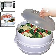 Nivel 2 Microondas Vaporizador Para Cocinar & Vapor Verduras Pez Arroz